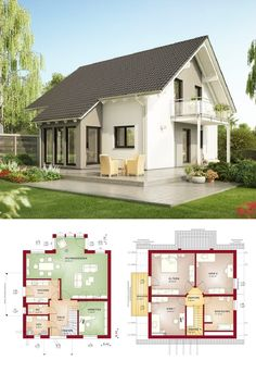 Satteldach-Haus klassisch mit Erker Anbau - Grundriss Einfamilienhaus Evolution 143 V4 Bien Zenker Fertighaus Ideen - HausbauDirekt.de