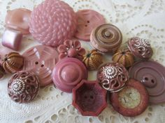 Vintage Buttons  Cottage chic mix of mauve rose by pillowtalkswf, $8.95