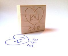 Custom Stamp. 1.5x1.5  Romantic Heart with by AproposRoasters, $22.00
