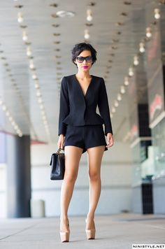 Repinned from Mary Solis | Originally from ninistyle.com | Black Sleek Jumpsuit | Travel to Party | Black | Flirty