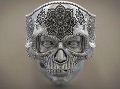 skull ring mandala mehndi  buddism  india ... 3d model obj stl 1