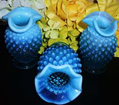 Antique blue Fenton glass vases