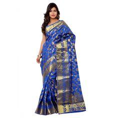 Blue Silk Indian #Saree With Blouse- $41.95