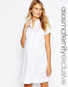 Image 1 ofASOS Maternity White Embroidered Cotton Shirt Dress