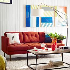 Bright Sofa in a white living room- Peggy Mid-Century Sofa | west elm