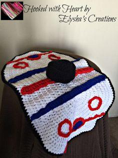 Hockey security blanket // Baby blanket // by ElyshasCreations