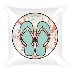Flip Flops in Turquoise Pillow