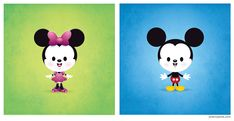 A new version of my kawaii Mickey and added Minnie.  Original design was for a t-shirt contest - modified here for posting.