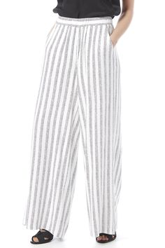 White striped palazzo pant with a high waist, elastic back and side pockets.   Ava Pant by Cupcakes & Cashmere. Clothing - Bottoms - Pants & Leggings - High-Waisted Clothing - Bottoms - Pants & Leggings - Flare & Wide Leg Nebraska