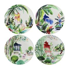 Bring nature into your home with this lush watercolor design by Paris-based illustrator Cyril Destrade. Vivid greens and colorful splashes of tropical flowers are the perfect contrast to the urban jungle. Handmade in France. Crystal Glassware, Waterford Crystal, Scully And Scully, Elegant Table, Watercolor Design, Tropical Flowers, Painted Rocks, Gift Guide, Decorative Plates