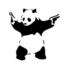 This simple and easy to use Panda with Guns stencil by Banksy. You can apply it to a variety of surfaces. Fast shipping on every order!