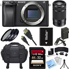 Bundle Includes Sony ILCE-6300 a6300 Mirrorless Digital Camera Sony 55-210mm Zoom Lens 49mm UV, Polarizer & FLD Deluxe Filter Kit (Set of 3 + Carrying Case) High Speed micro-HDMI to HDMI A/V Cable 6 Feet InfoLithium H Series NP-FW50 Camera Battery AC/DC Rapid Battery Charger for Sony FW50...