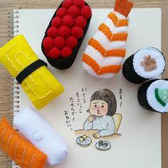ひさしぶりにフェルトで プチお寿司セット . フェルトのお問い合わせたまにいただきますが、お友達へのプレゼント用のみしか作っていませーん