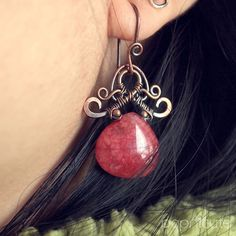 Handmade Dangly Pagoda Earrings Cherry Red Jade Wire Wrapped Copper