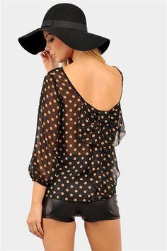 #Black Polka Dot #Fashion #Blouseonly www.2dayslook.com