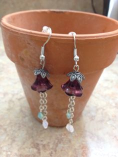 Purple lily dangle earrings by ReadyByDawn on Etsy, $10.00