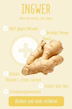 Du willst noch mehr über Ron ähh Ingwer wissen? Einfach klicken und noch mehr über Ingwer und andere Superfoods erfahren. Ps: Rezeptideen gibt's auch bei uns! Superfoods, Ps, Movie Posters, Too Busy, Healthy Nutrition, First Aid, Foods, Knowledge, Simple