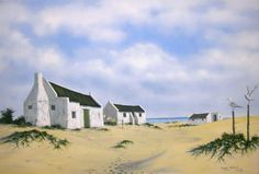 ARNISTON - Fishermans cottages. (ORIGINAL WILDLIFE OIL PAINTINGS ON CANVAS.)
