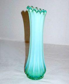 """Elegant Glass - Fostoria - Heirloom - Green Opalescent - Swung Vase 9 1/2"""""""