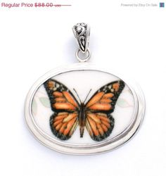 ON SALE Vintage Belle Broken China Jewelry Monarch Butterfly Meadow Sterling Oval Pendant