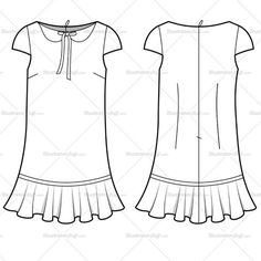 Women's Collar Dress Fashion Flat Template
