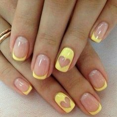 Color french manicure Heart nail designs June nails Manicure by yellow dress Manicure with a yellow gel polish ring finger nails Romantic nails Summer nails 2020 Yellow Nails Design, Yellow Nail Art, Ring Finger Nails, Finger Nail Art, Nail Ring, Heart Nail Designs, Best Nail Art Designs, Awesome Designs, Fun Nails