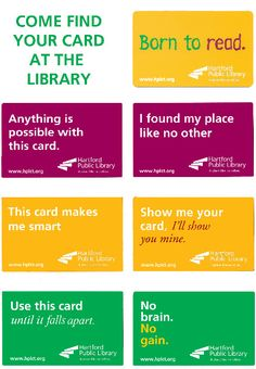 Use your library cards to market your library. Great idea!
