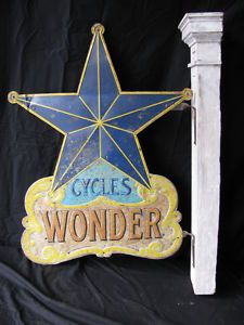 Antique Tin Wonder Bicycle Trade Sign
