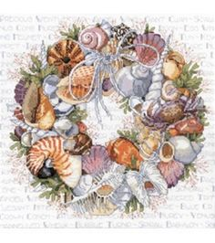 Janlynn Counted Cross Stitch Kit Seashell Wreath