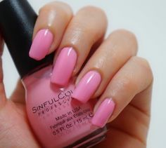 SINFUL COLORS Nail Polish in 'Pink Smart'. A soft light  baby pink crème. $1.99 in KMART, WALMART, WALGREENS, RITE AID, CVS.
