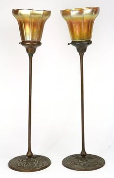 Pair Of Art And Crafts Style Patinated Bronze