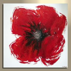 Original Modern Red Poppy Flower Abstract Palette Knife Acrylic Painting on Canvas. $165.00, via Etsy.