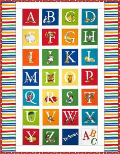 Learning the alphabet is so much fun and is easy as A B C with this colorfully bright and whimsically fun Dr. Seuss handmade baby quilt! The quilt center features a whimsically fun alphabet quilt panel print that is surrounded with a white inner border and a colorfully pieced outer border. The entire quilt (top, backing and binding) is created with fun Seussical quilt prints in bright primary colors of yellow, green, red, blue, white, orange, stripes, dots, teddy bears, book phrases, and of…