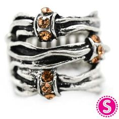 Silver & Brown Stretchy Band Ring #$5 #Paparazzi $5 Jewelry www.facebook.com/justfivedollars