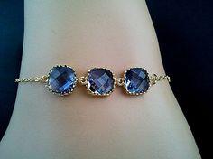 Blue Sapphire Gold Bracelet -Bangle Bracelet,Friendship bracelet, Charm Bracelet, wedding bracelet,Gemstone