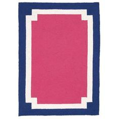 """Hand-hooked New Zealand wool rug with a multicolored border motif.    Product: Rug    Construction Material: 100% New Zealand wool   Color: Pink, blue, and white     Features: Hand-hooked    Dimensions: 2'10"""" x 3'9""""  Note: Please be aware that actual colors may vary from those shown on your screen. Accent rugs may also not show the entire pattern that the corresponding area rugs have.     Cleaning and Care: Spot clean only"""