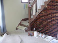 Image detail for -Living room--fake brick wall, stained carpet (sneak peak of paint)