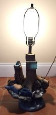 Vintage 1982 Apsit Brothers Of California Chalk Ware NO FISHING Lamp 26""