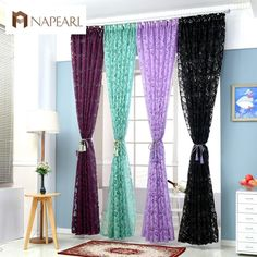 [Visit to Buy] Red curtains window treatments semi-blackout curtains 3d fashion design modern curtains for living room #Advertisement