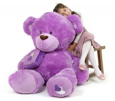 "Sewsie Big Love 47"" Lavender Valentine Teddy Bear - Giant Teddy Bears"