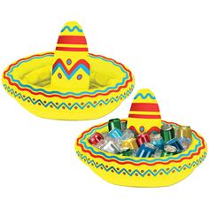 "One of the ""cooler"" ideas we've come up with! A colorful inflatable sombrero that also functions as a cooler for your favorite party beverages. Great for Cinco de Mayo or any summer party. Buy a few o"
