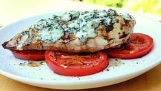 Blue-Cheese Grilled Chicken over Balsamic Tomatoes