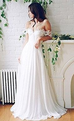 Lovelybride Off the Shoulder a Line Long Chiffon Bridal Beach Wedding Dress at…