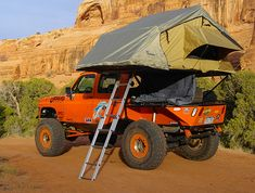 put this in car board or odd camping board? oh well here it is Off Road Camping, Truck Camping, Camping Gear, Gm Trucks, Cool Trucks, Pick Up, Hors Route, Roof Top Tent, Top Tents
