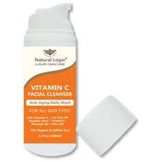 NEW PRODUCT: 15% Vitamin C Natural Facial Cleanser, Gentle For All Skin Types - Non-Drying; Alcohol & Sulfate Free. Contains Vitamin E, Rosehip, Tea Tree, MSM & Aloe, VEGAN, For Men & Women - 3.4 OZ. Please Enjoy Our Introductory Pricing and FREE SHIPPING FOR EVERYONE in the Contiguous United States!. PROUDLY MADE IN AMERICA! Natural Logix procures the same formulations from the same luxury skin care manufacturing labs as many of the best-selling brands in the skin care industry! Just...