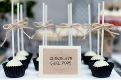 Dessert decorating ideas from cake pops to candy bars. Color combo: brown, black, white