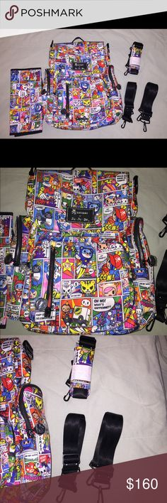 Ju Ju Be Tokidoki- Be Sporty (Super Toki print) Ju Ju Be Tokidoki- Be Sporty (Super Toki print) - Diaper Bag. Zipper pulls still have plastic ok them. Can be used as backpack or messenger style. Used once. No issues, stains, smells & change pad never used. Pet friendly, smoke free. tokidoki Bags Baby Bags