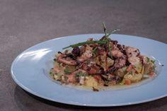 ΠΑΤΑΤΟΣΑΛΑΤΑ ΜΕ ΧΤΑΠΟΔΙ ΜΑΡΙΝΑΡΙΣΜΕΝΟ ΣΕ ΚΡΕΜΑ ΒΑΛΣΑΜΙΚΟΥ ΣΥΚΟ - ΣΕΦ ΣΤΟΝ ΑΕΡΑ Fish Dishes, Risotto, Potato Salad, Seafood, Salads, Potatoes, Sweets, Meat, Chicken