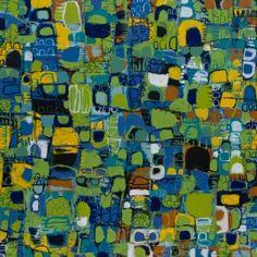 "Naomi Hobson, ""Winthan"" (Blue Lagoon), 2014, acrylic on linen, 190 x 190 cm. Alcaston Gallery, Melbourne @ Depot II, Danks St., Sydney."
