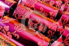 Luxurious decorative pink Christmas crackers.